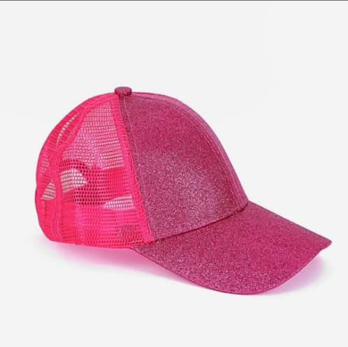 Youth Glitter Ponytail Cap -Hot Pink
