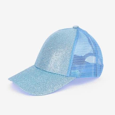 Youth Glitter Ponytail Cap -Aqua