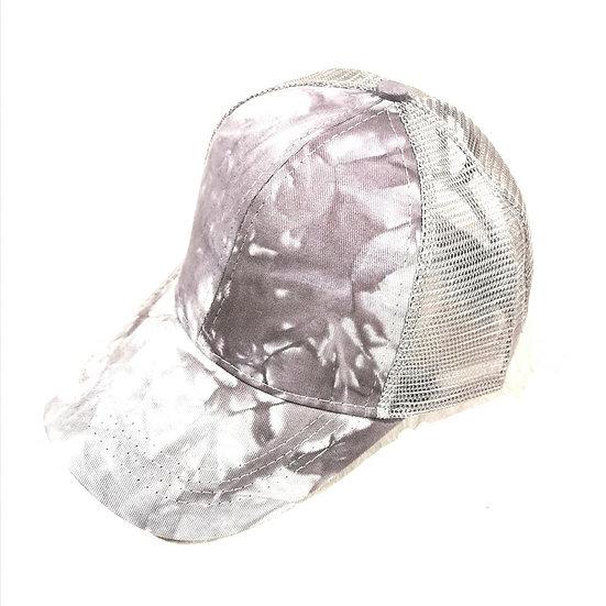 Marble Ponytail Cap - Grey