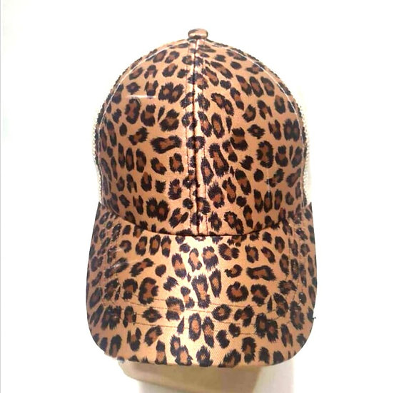 'Distressed' Ponytail Cap - Cheetah