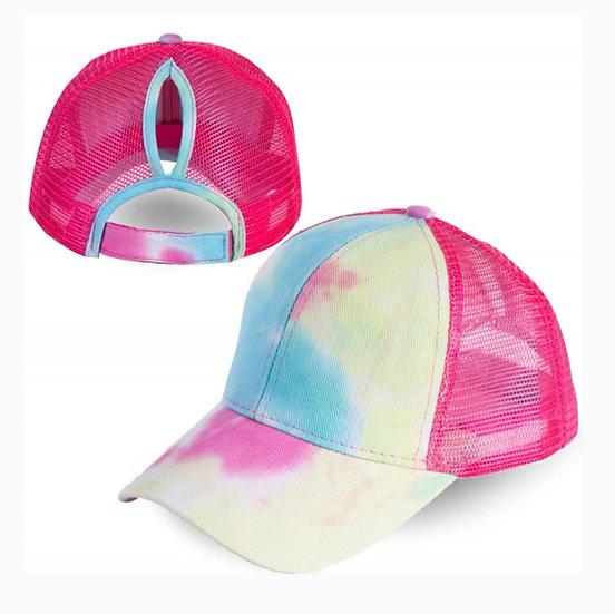 Tie Dye Ponytail Cap Shocking Pink