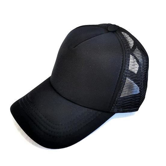 Essential Black Trucker Ponytail Cap