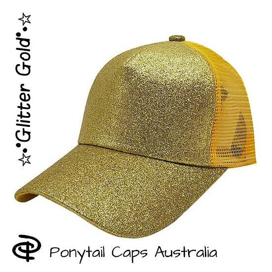 Gold Glitter Ponytail Cap