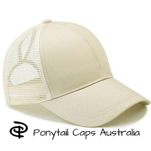 Cream Ponytail Cap