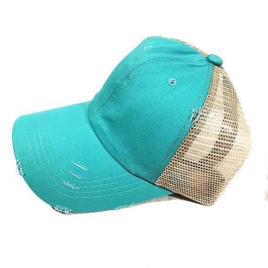 Vintage (Soft top) Ponytail Cap -Turquoise