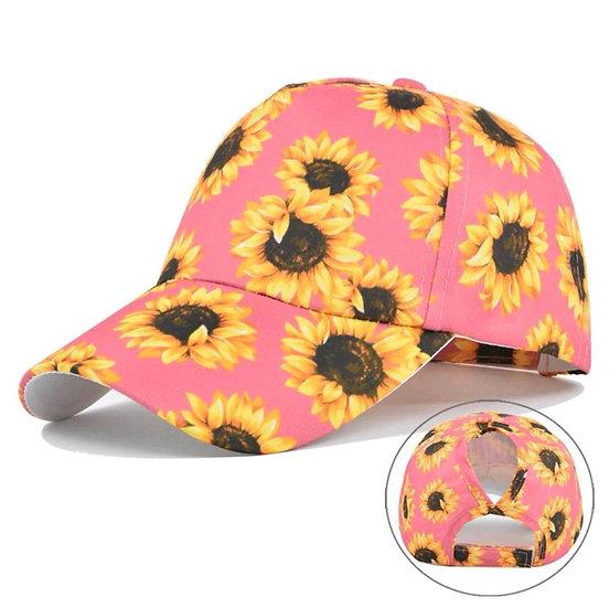Sunflower Full Cover Ponytail Cap - Pink