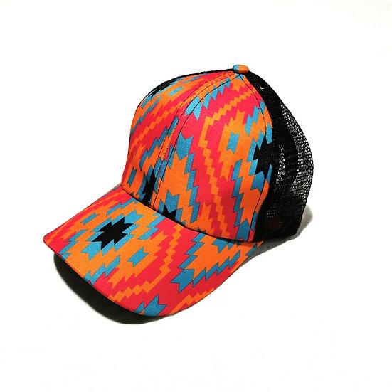 Cowgirl Ponytail Cap - Aztec
