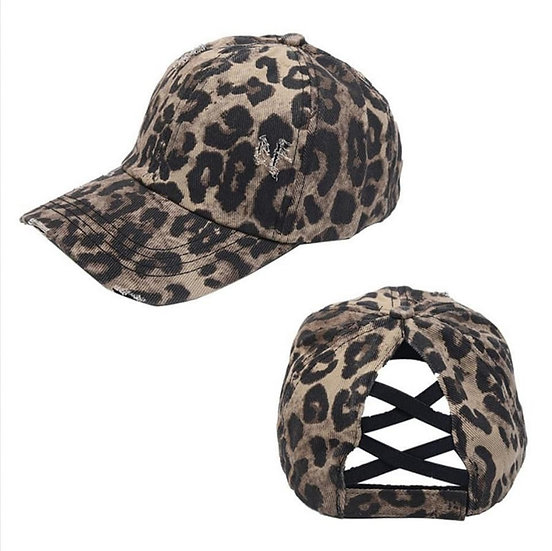 Vintage (Soft Top) Full Cover Ponytail Cap - Leopard
