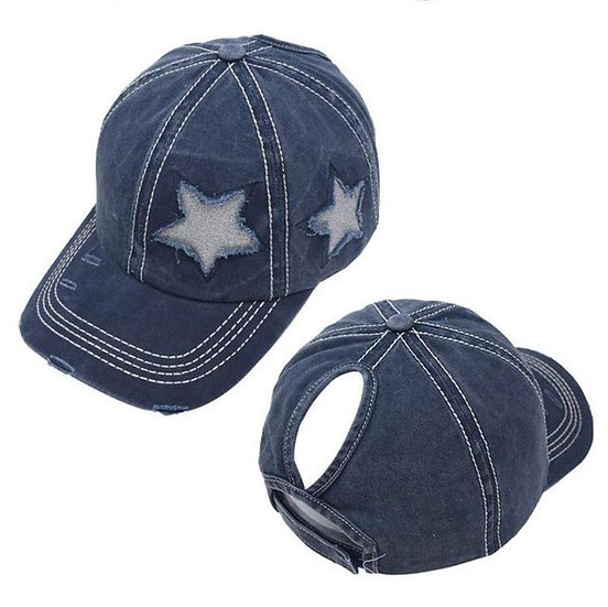 Lucky Star Ponytail Cap - Navy
