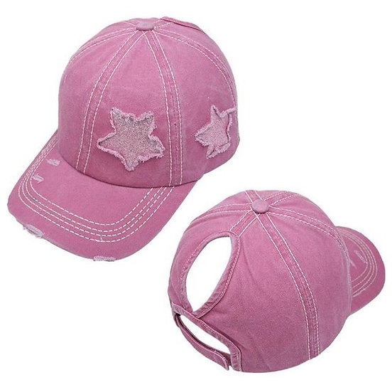 Lucky Star Ponytail Cap - Pink