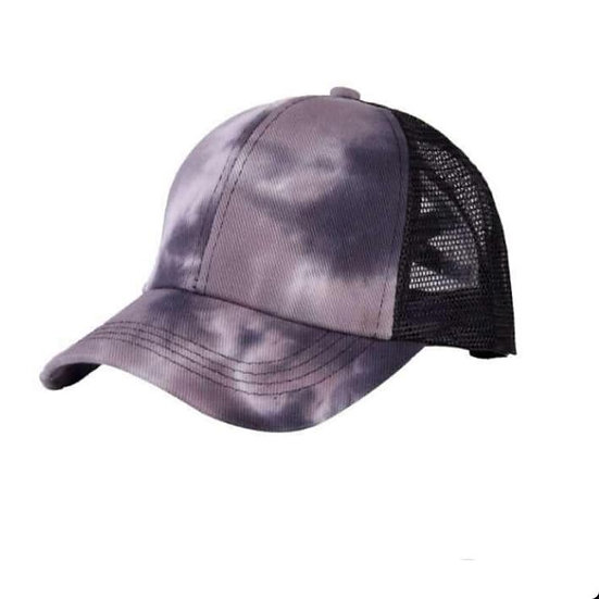 Tie Dye Ponytail Cap Black