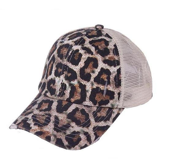 'Distressed' Ponytail Cap - Leopard