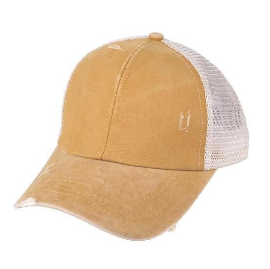 'Distressed' Ponytail Cap - Mustard
