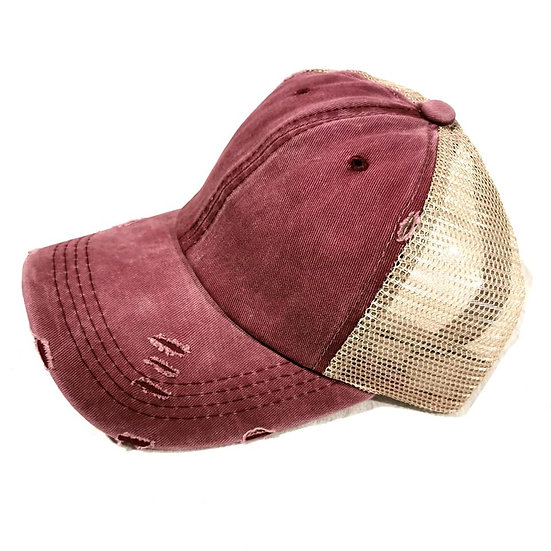Vintage (Soft top) Ponytail Cap -Maroons