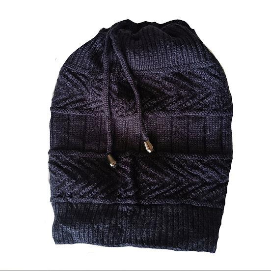 Ponytail Beanie /scarf - Navy