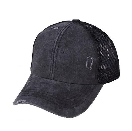 'Distressed' Ponytail Cap - Coal