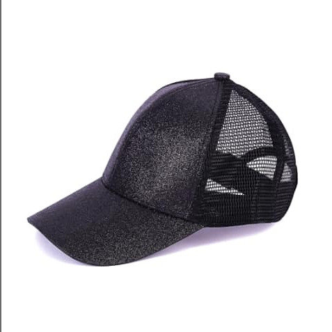 Youth Glitter Ponytail Cap - Black