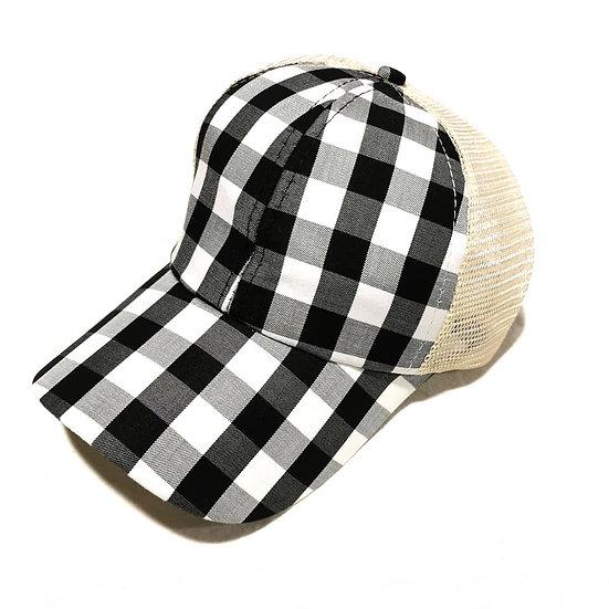 Cowgirl Ponytail Cap -Plaid