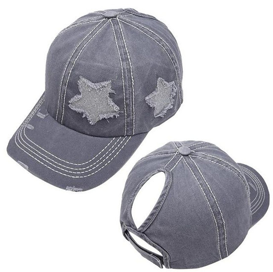 Lucky Star Ponytail Cap - Light Grey