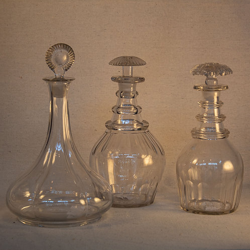 Set of Three 19th Century Lead Glass Decanters
