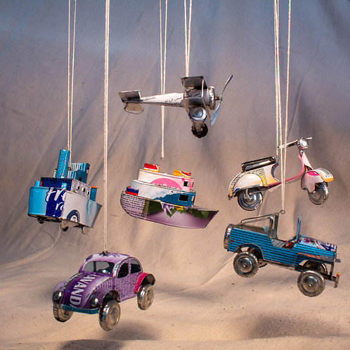 Set of 5 Recycled Tin Vehicle Ornaments