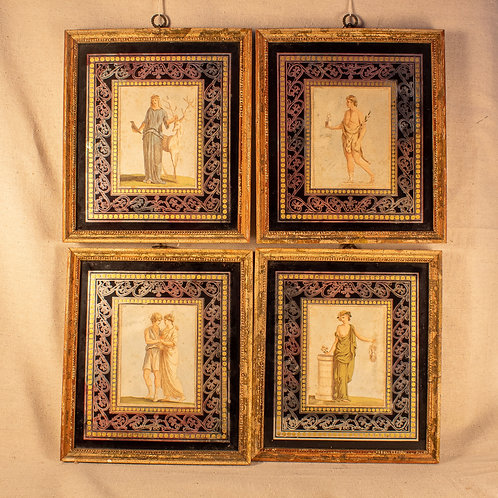 Set of Four 18th Century Églomisé Mythological Portraits