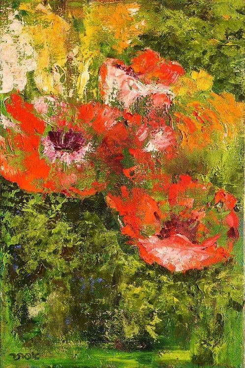 Flower Painting - Ranunculus Red