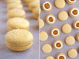 Vegan macarons mango-jasmine-white chocolate. 💛💛💛