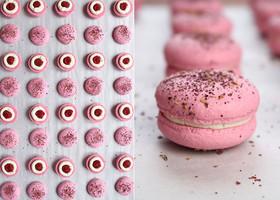 Vegan macarons raspberry - rose - white chocolate. ❤️🌹❤️🌹❤️🌹