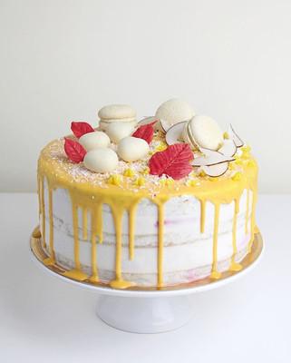 Vegan cake coconut - mango - raspberry.