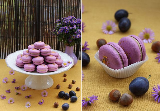 Vegan macarons plum-praline-white chocolate. 💜💛