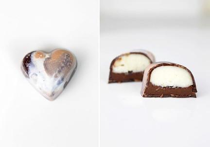 Vegan bonbons. Dark chocolate Valrhona Manjari, dark chocolate ganache with cacao nibs and white chocolate ganache with Mexican vanilla and tonka beans.