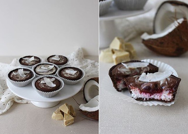 Vegan chocolate tartlets with coconut filling, cherries, ganache with dark and white chocolate. (Gluten free, sugar free)