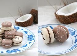 Vegan macarons coconut - vanilla - white and dark chocolate.