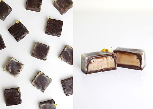 Marble chocolate bonbons with coffee ganache, edible gold (24k).