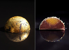Vegan Bonbon. Dark chocolate Valrhona Illanka, Cassis dark chocolate ganache based on Valrhona Manjari, Guava confit. Edible gold (24k).
