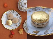 Vegan macarons chestnut - orange - white chocolate - edible gold (24 karat). 👑
