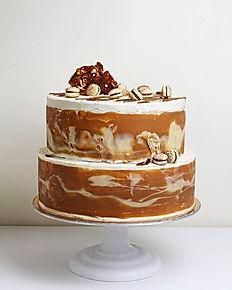 Vegan cake Creme Brulee. Vanilla white c
