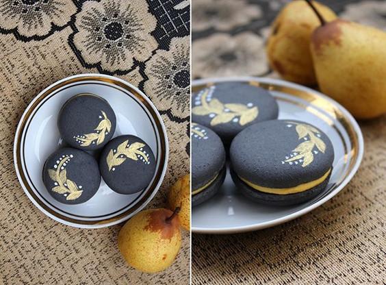 Vegan macarons pear - liquorice - white chocolate. 💛