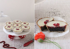 Vegan vanilla tartlets with poppy-seed filling, lemon and cherry curd and white chocolate.