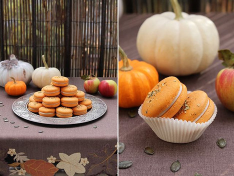 Vegan macarons pumpkin - caramelized apples in maple syrup - white chocolate. 🍁