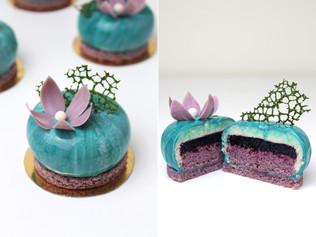Vegan individual mousse cakes «Blueberry Malachite»