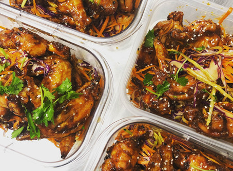 Crispy and Saucy Asian Wings with Broccoli Stem Slaw