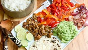 Real Food Veggie Fajitas + Quick Guacamole