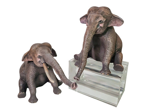 Set of 2 Elephant Painted Resin Miniatures