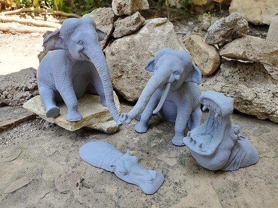 Set of 4 Jungle Animal Miniatures - Primer Grey