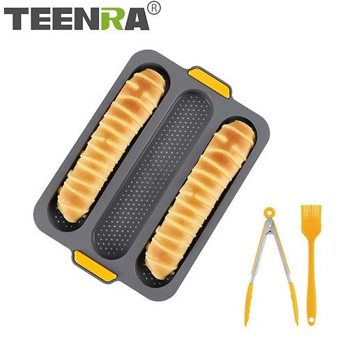 TEENRA 3 Grid Non-Stick Silicone French Bread Mould