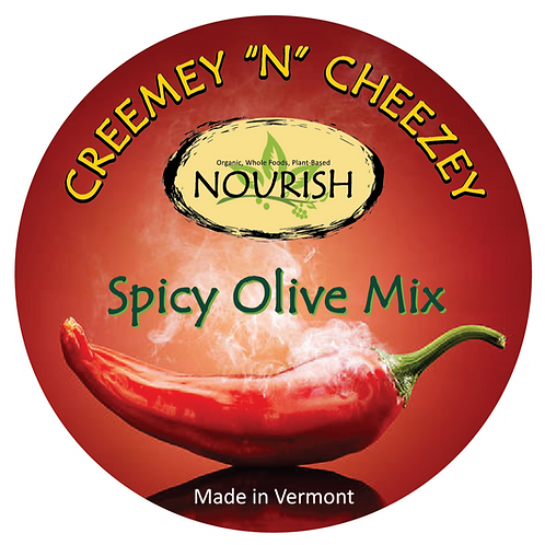"Creemey ""N"" Cheezey Spicy Olive Mix - 8oz Jar"