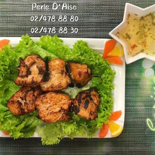 214 - Brochettes de poulet grillée aux feuilles de citronnier