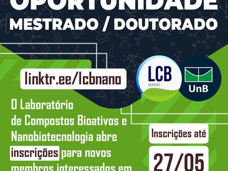 LCBNano - Oportunidade Mestrado / Doutorado